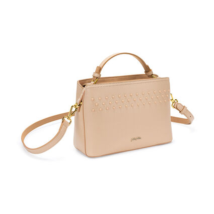 Studded Beauty Detachable Crossbody Strap Handbag with Inner Detachable Pouch, Beige, hires