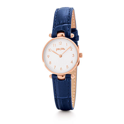 Lady Club Small Case Leather Watch, Dark Blue, hires