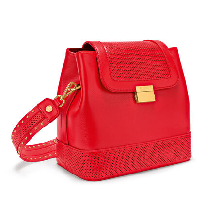 On The Dot Leather Backpack Shoulder Bag, Red, hires