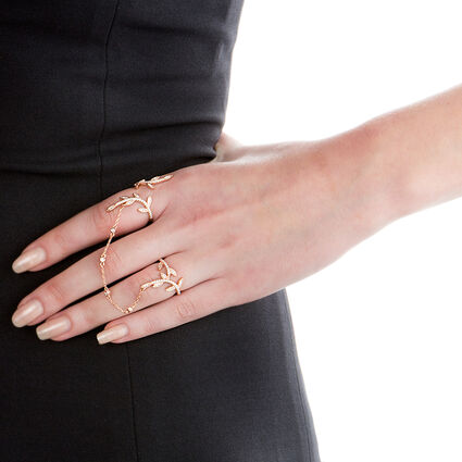 Fashionably Silver Stories Rose Gold Plated Δαχτυλίδι, , hires