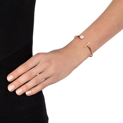 Acro Balance Rose Gold Plated Cuff Bracelet , , hires
