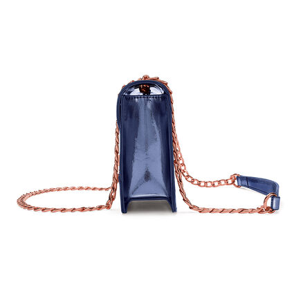 Metallic Love Detachable Chain Strap Shoulder Bag, Blue, hires