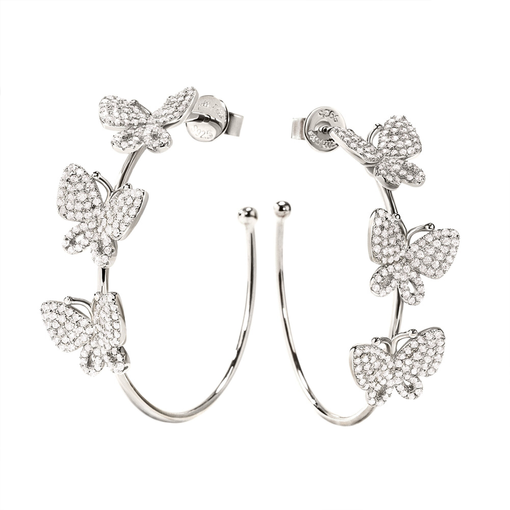 Folli Follie Wonderfly Rhodium Plated Hoop Earrings 3E17S103C