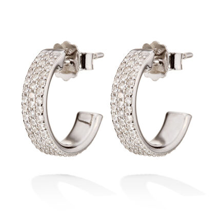 Fashionably Silver Essentials Rhodium Plated Small Hoops Earrings, , hires