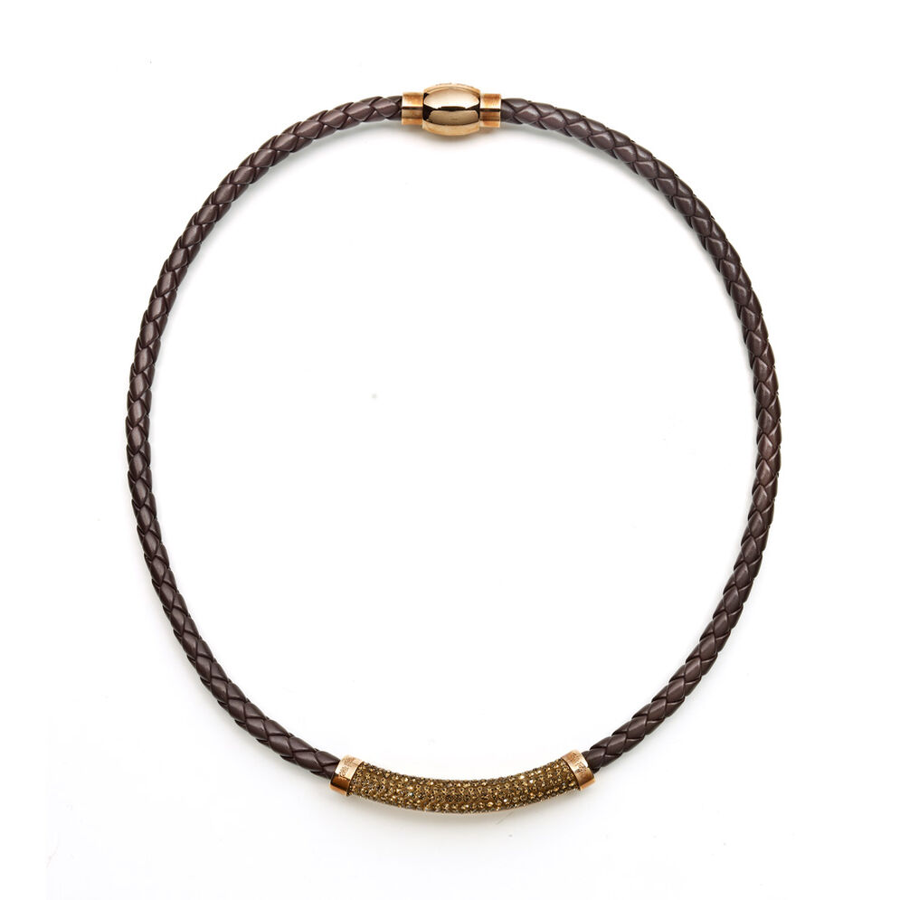 Dazzling Rose Gold Plated Brown Chocker Necklace , , hires