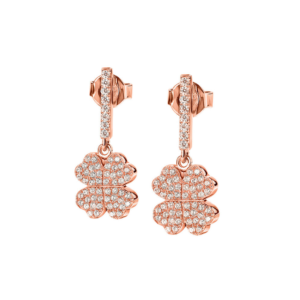 Fashionably Silver Heart4Heart Rose Gold Plated Short Earrings, , hires