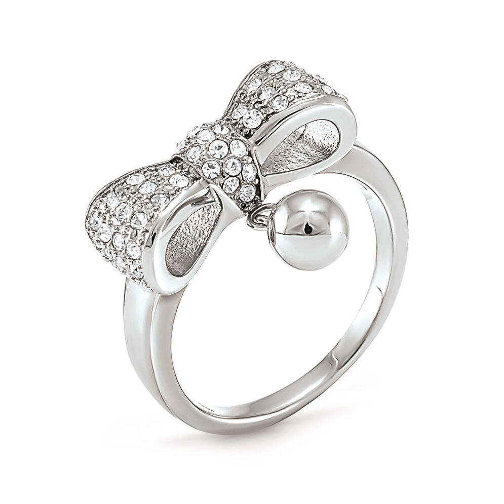 Bow Silver Plated Stone Ring, , hires