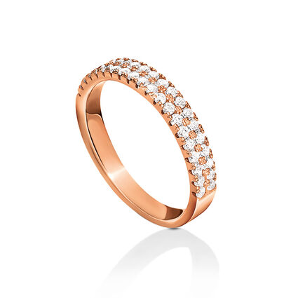 Fashionably Silver Essentials Rose Gold Plated Λεπτό Σιρέ Δαχτυλίδι, , hires