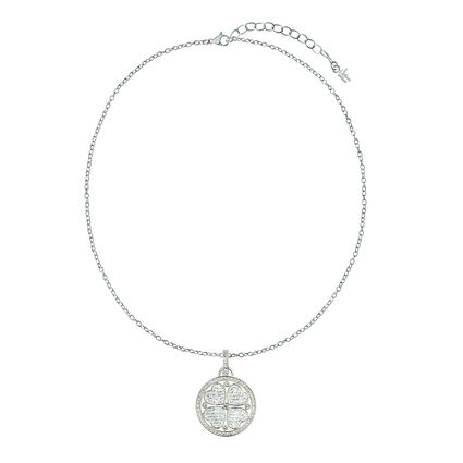 Heart4Heart Silver Plated Pave Κρυστάλλινες Πέτρες Κοντό Κολιέ, , hires