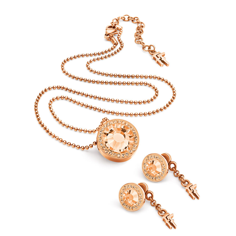 Classy Rose Gold Plated Earrings & Necklace Set, , hires