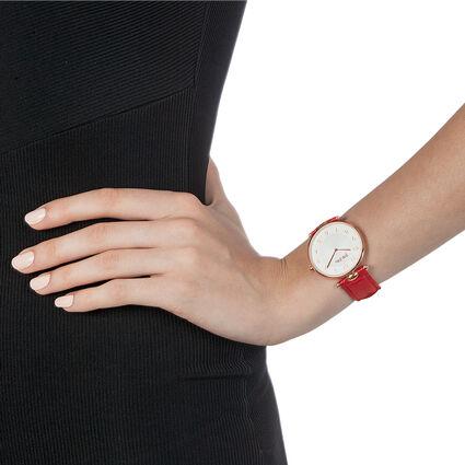 Lady Club Μεγάλη Κάσα Δερμάτινο Ρολόι, Dark Red, hires