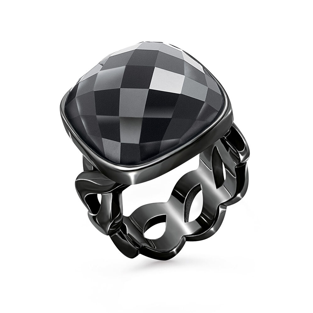 Apeiron Black Plated Square Black Crystal Stone Ring , , hires