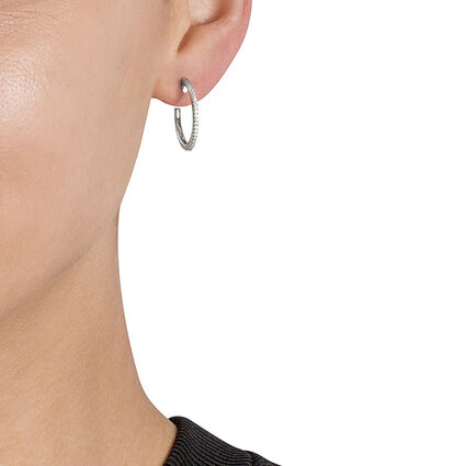 Fashionably Silver Essentials Rhodium Plated Small Hoop Earrings, , hires
