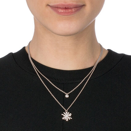 Star Flower Rhodium Plated Small Motif Short Necklace, , hires