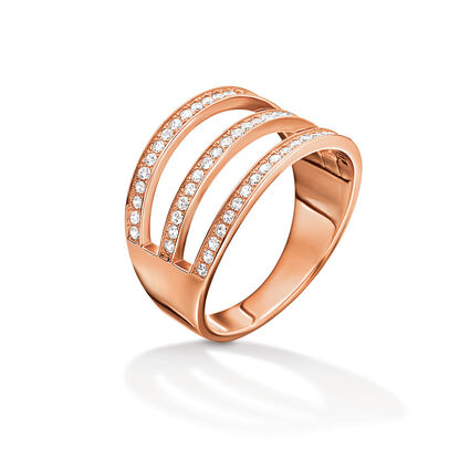 Fashionably Silver Essentials Rose Gold Plated Stone Ring, , hires