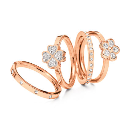 Heart4Heart and Follie Di Fiori Rose Gold Plated Σετ Τεσσάρων Δαχτυλιδιών, , hires
