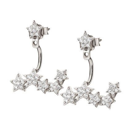 Fashionably Silver Stories Rhodium Plated Earrings, , hires