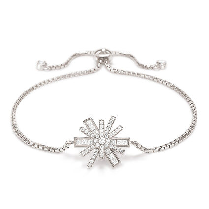 Star Flower Rhodium Plated Adjustable Bracelet, , hires