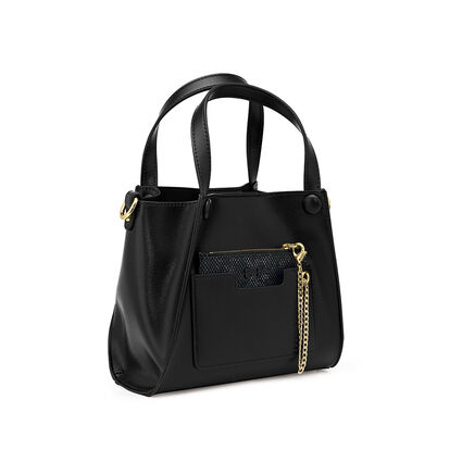 On the Go Mini Long Strap Handbag with Detachable Snake Case & Inner Pouch, Black, hires