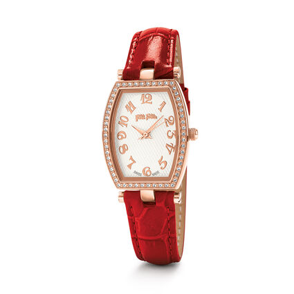 Debutant Bliss Swiss Made Leather Watch, Red, hires