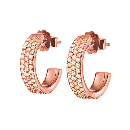Fashionably Silver Essentials Rose Gold Plated Κρίκοι Σκουλαρίκια, , hires