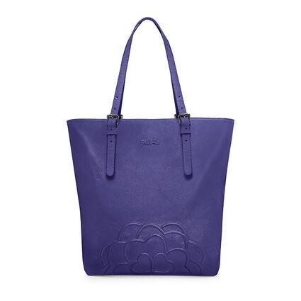 Santorini Flower Μεγάλη Δερμάτινη Τσάντα ΄Ωμου, Purple, hires