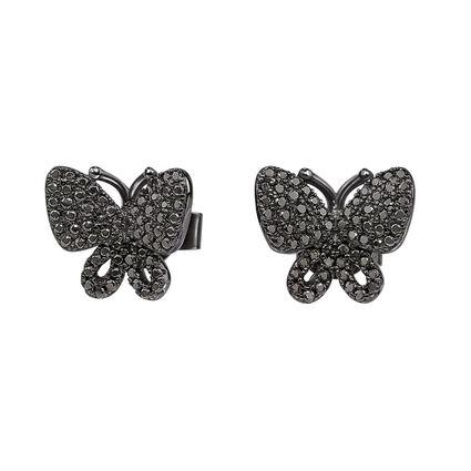 Wonderfly Black Rhodium Plated Stud Earrings, , hires