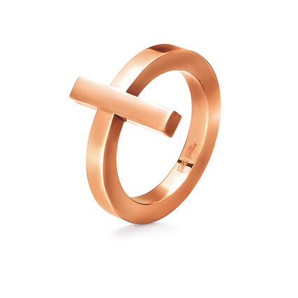 Carma Rose Gold Plated Cross Ring, , hires