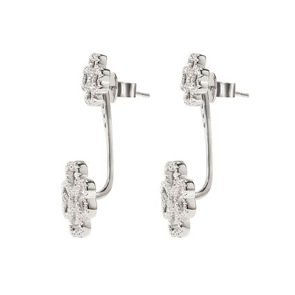 Miss Heart4Heart Rhodium Plated Adjustable Earrings, , hires