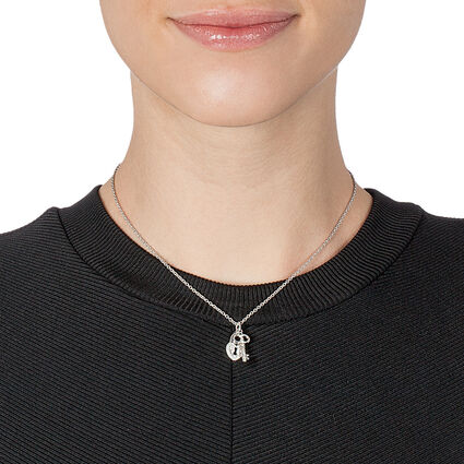 Charm Mates Rhodium Plated Short Necklace, , hires