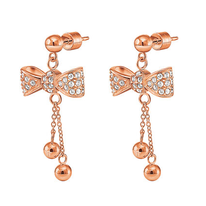 Bow Rose Gold Plated Stone Earrings, , hires