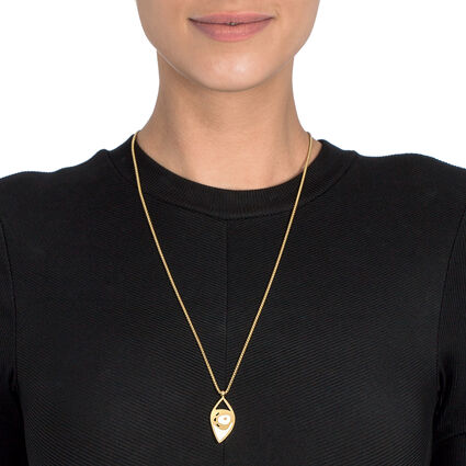 FF Talisman Yellow Gold Plated With Enamel Adjustable Long Necklace , , hires