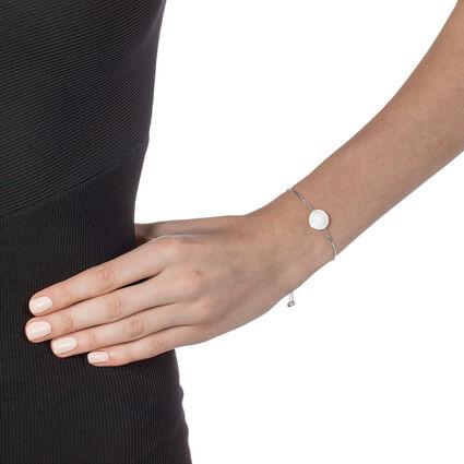 Discus Rhodium Plated Adjustable Bracelet , , hires