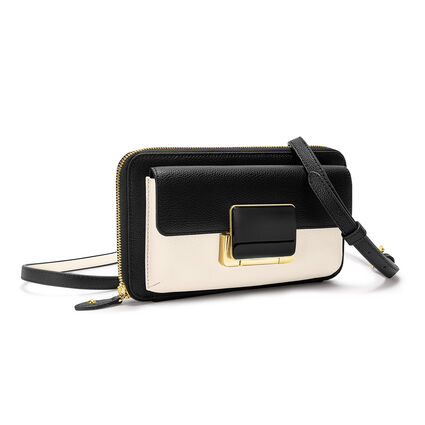 Lady Riviera Continental Leather Wallet Bag With Extra Strap , Black, hires