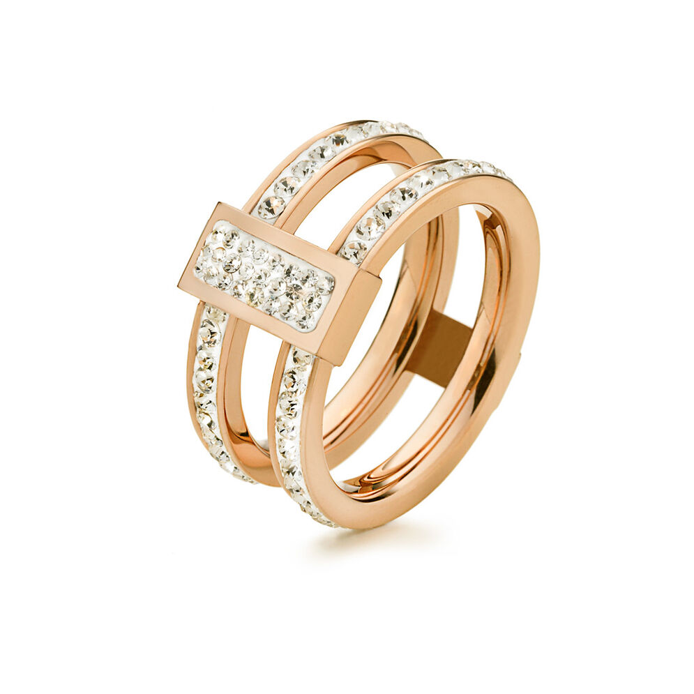 Match & Dazzle Rose Gold Plated Wide Full Stone Ring, , hires