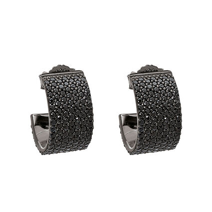 Fashionably Silver Essentials Black Rhodium Plated Stone Earrings, , hires
