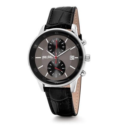 Big Moments Big Case Leather Watch , Black, hires