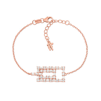 Fashionably Silver Essentials Rose Gold Plated Stone Bracelet, , hires