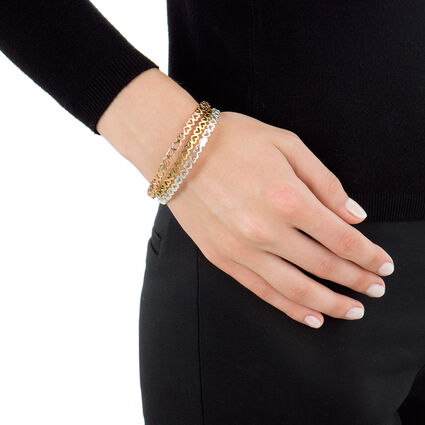 Love & Fortune Silver Rose & Yellow Gold Plated Three Set Large Diameter Bangle Bracelet, , hires