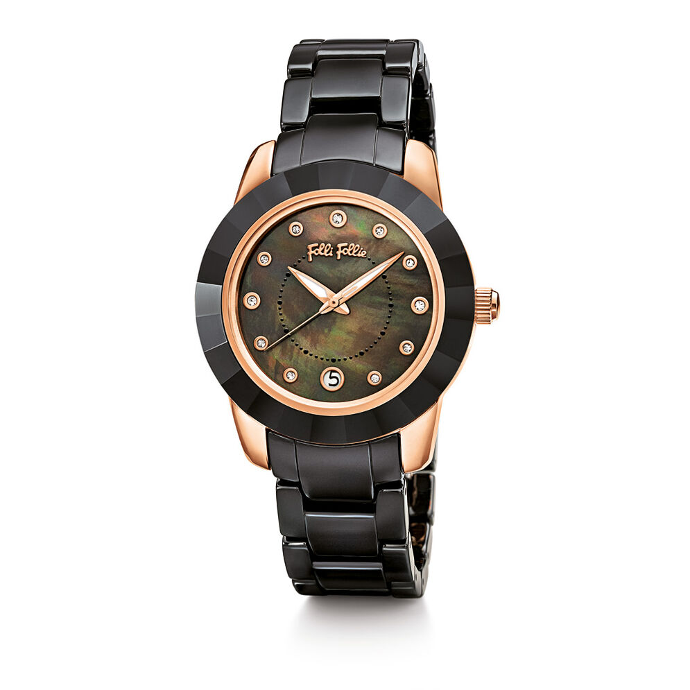 Prismatic Ceramic Watch, Bracelet Black, hires