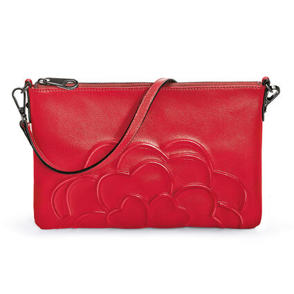 Santorini Flower Detachable Strap Leather Evening Bag, Red, hires