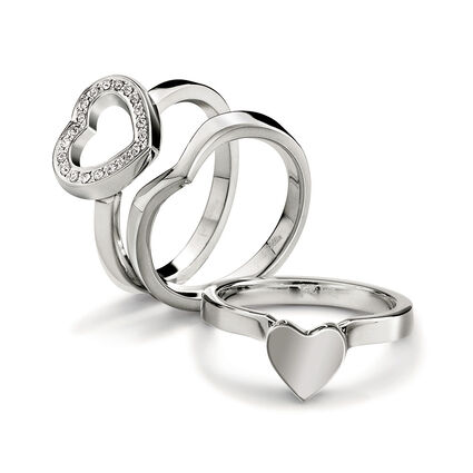 Playful Hearts Silver Plated Clear Crystal Stone Set Ring, , hires