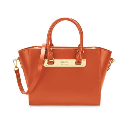 Style Code Detachable Long Strap Leather Handbag, Orange, hires