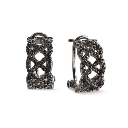 Fashionably Silver Black Phodium Plated Stone Earrings, , hires