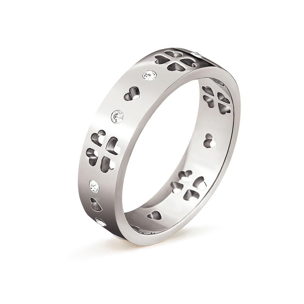 Love & Fortune Silver Plated Wide Ring, , hires