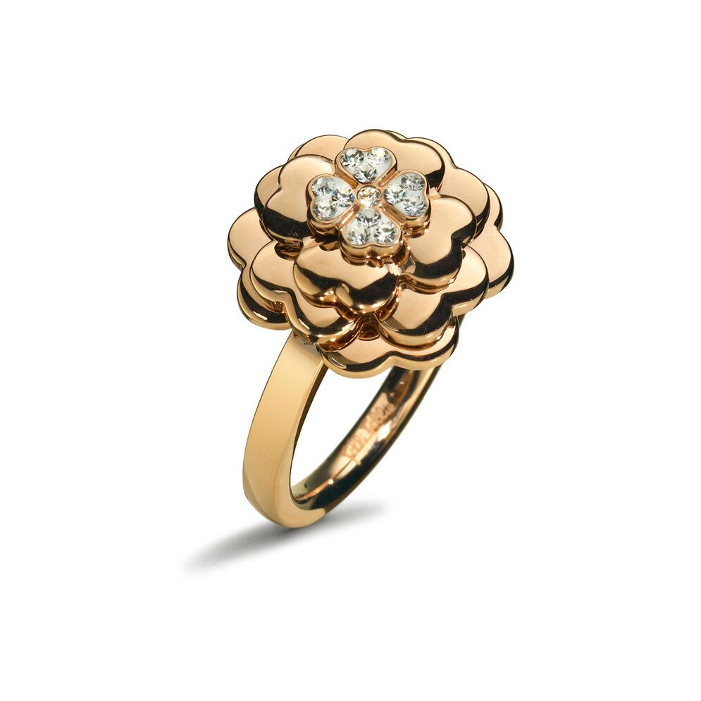 Santorini Flower Rose Gold Plated Μικρό Μοτίφ Δαχτυλίδι, , hires