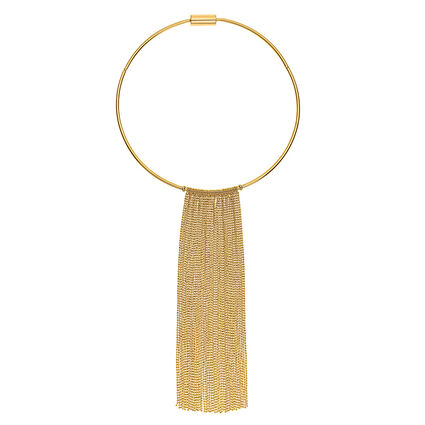 Glow Rays Yellow Plated Chocker Style With Fringe Short Necklace, , hires