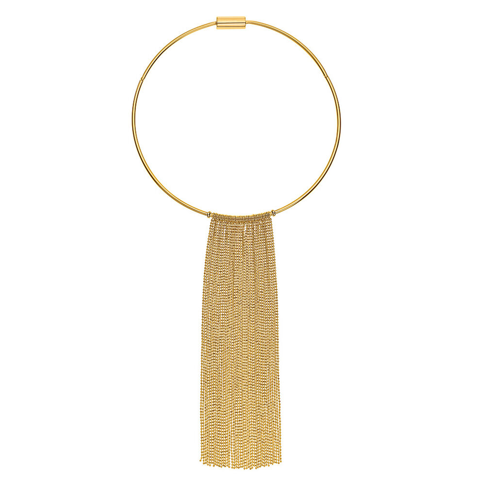 Glow Rays Yellow Plated Chocker Style With Fringe Short Necklace , , hires