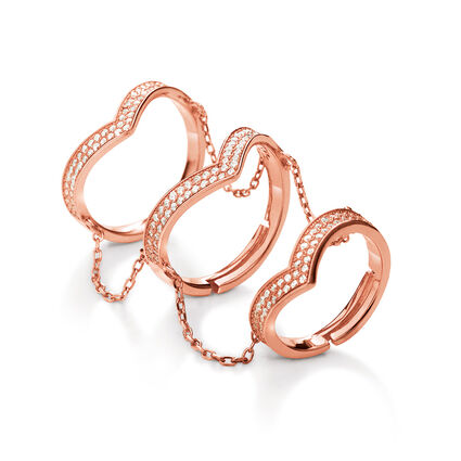 Fashionably Silver Temptation Rose Gold Plated Δαχτυλίδι, , hires