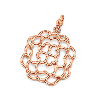 Santorini Flower Rose Gold Plated Center Crystal Stone Pendant , , hires